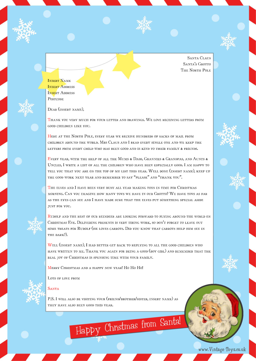 Free Printable Letter From Santa Word Template Christmas Printables