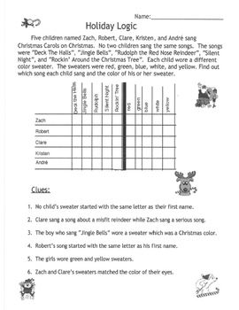 image about Printable Logic Problems titled Logic Puzzles Printables For Xmas - Xmas Printables