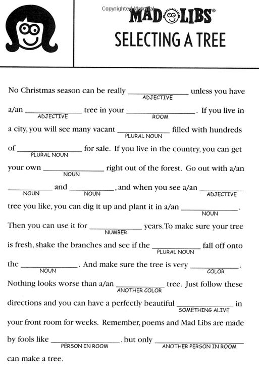 mad lib printables for christmas