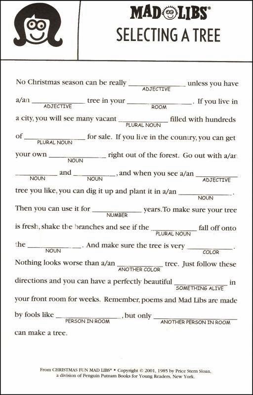 picture regarding Free Printable Mad Libs for Middle School Students named Crazy Lib Printables For Xmas - Xmas Printables