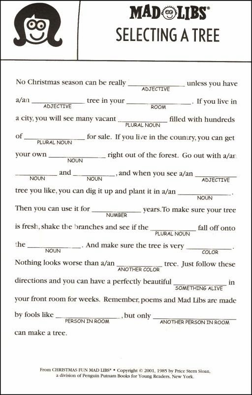 graphic relating to Free Printable Mad Libs for Kids named Outrageous Lib Printables For Xmas - Xmas Printables
