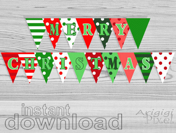 merry christmas letter banner printable