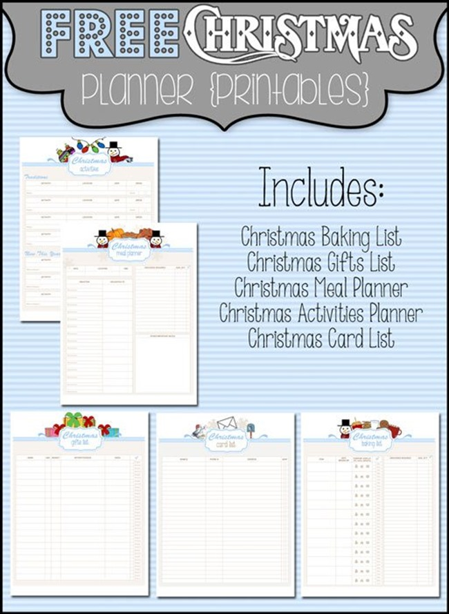 planner printables for christmas
