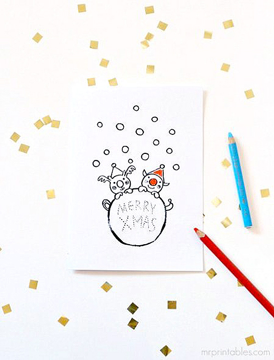 printable coloring christmas cards for kids