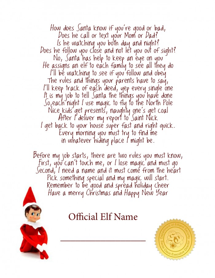 printable elf on the shelf arrival letter
