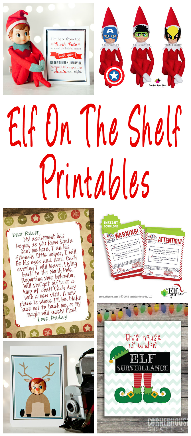 printable elf on the shelf pictures