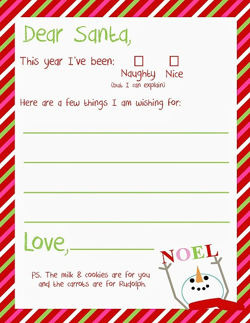 printable letter to santa paper