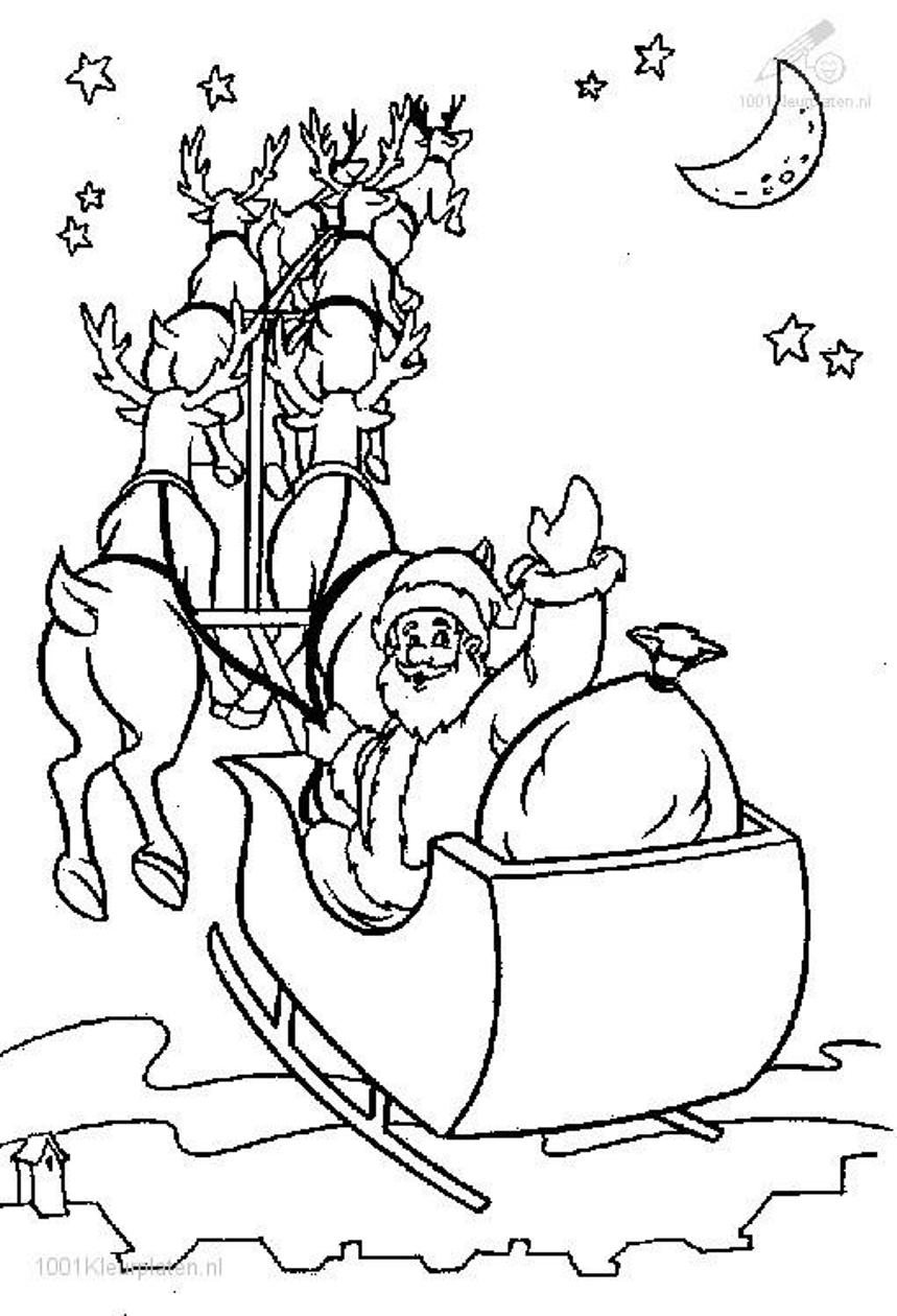 santa with sleigh coloring pages - photo#18