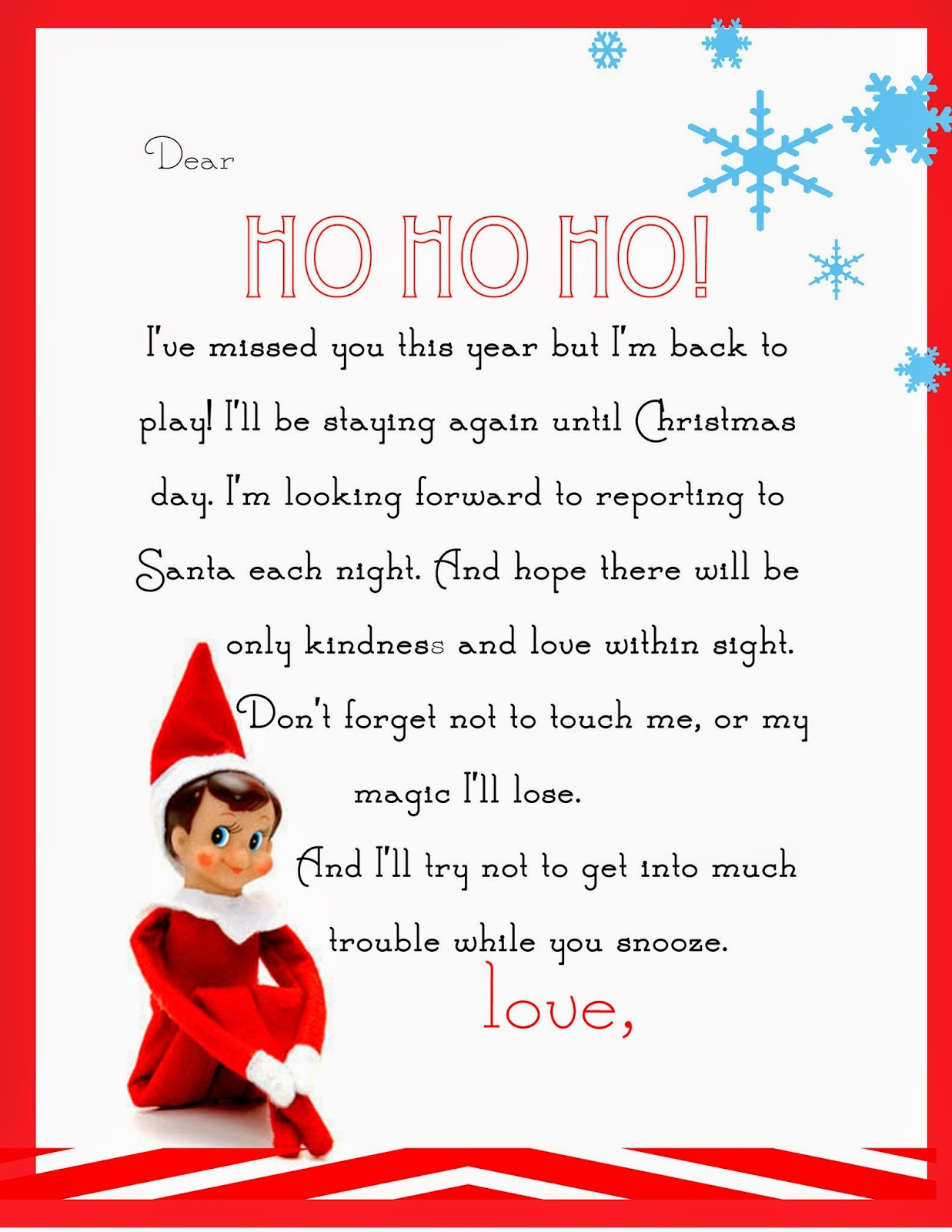 return letter from elf on the shelf printable