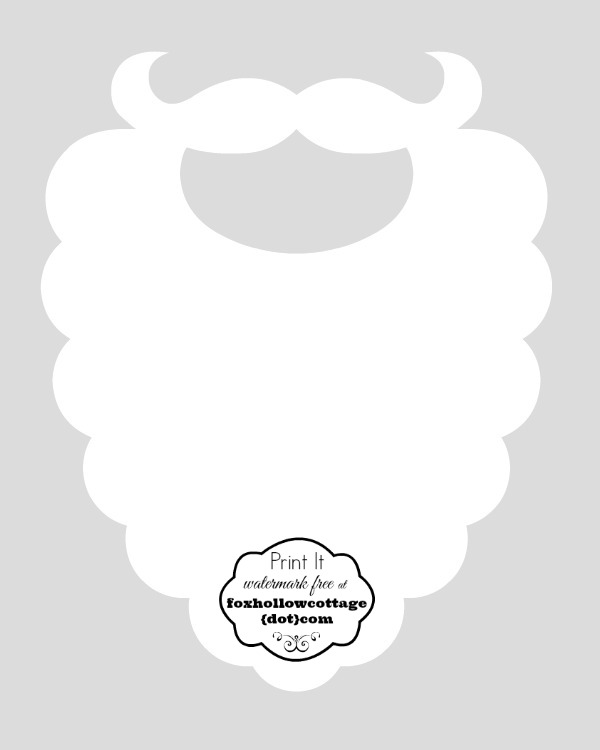 photograph about Santa Hat Template Printable referred to as Santa Beard Template Printable - Xmas Printables