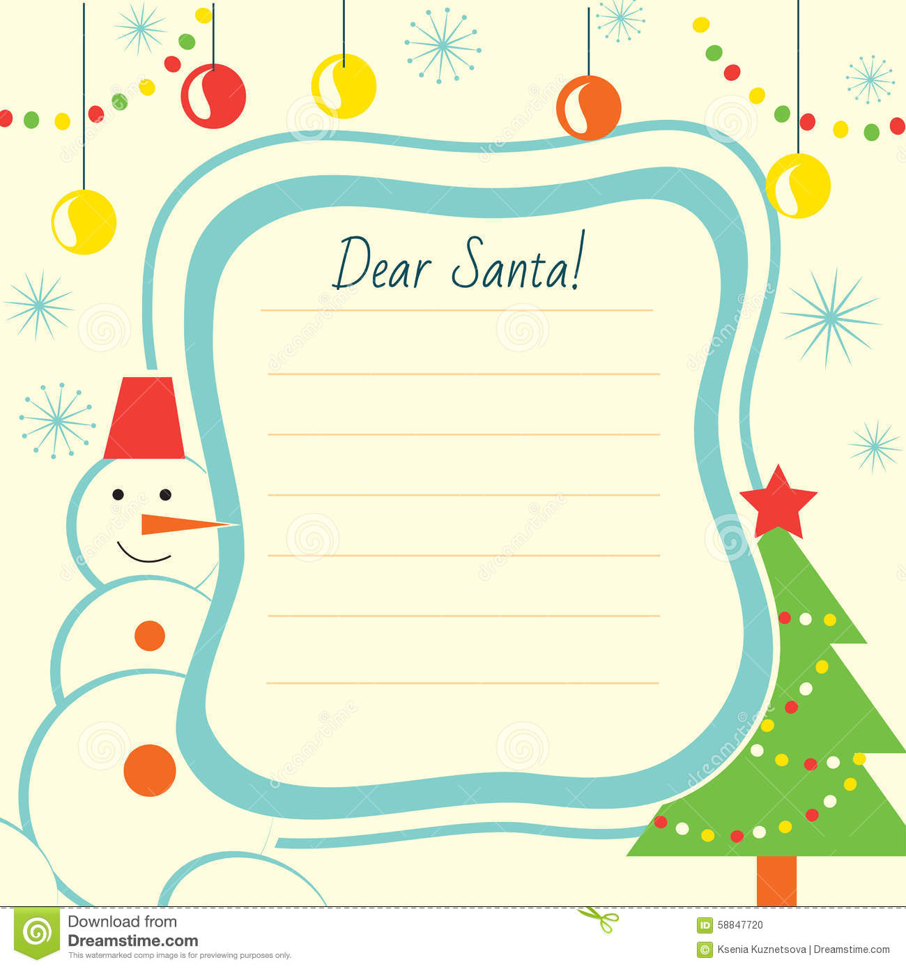 A Letter To Santa Template: Christmas Printables