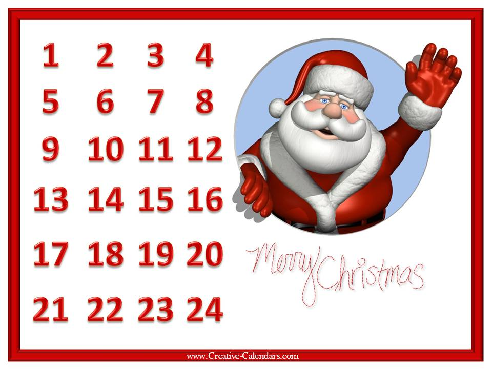 photo relating to Printable Christmas Countdown named Santa Countdown In direction of Xmas Printable - Xmas Printables