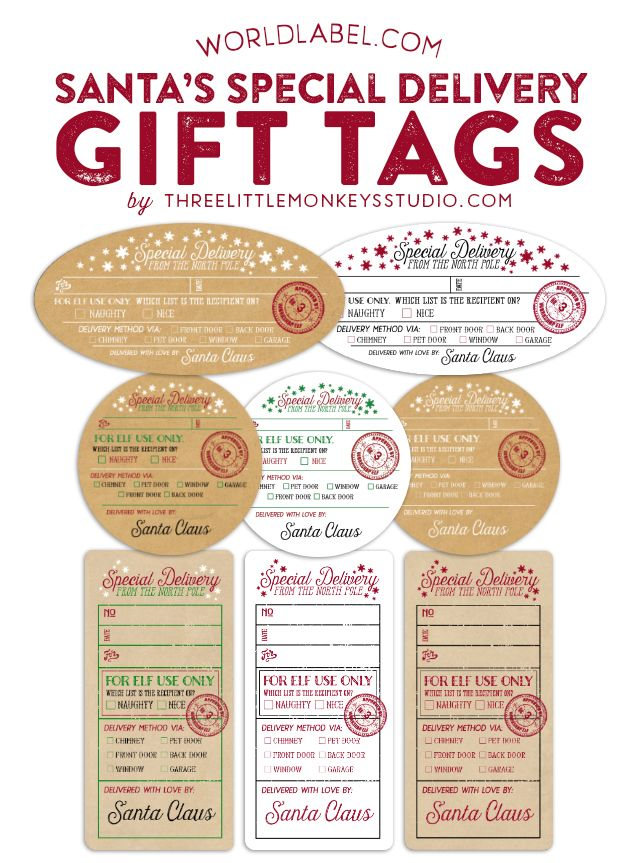 to from santa gift tags printable
