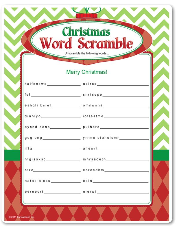 word scramble printables for christmas