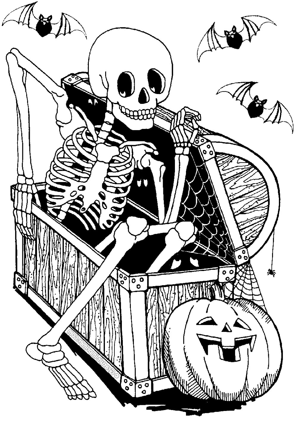 halloween skeleton coloring pages
