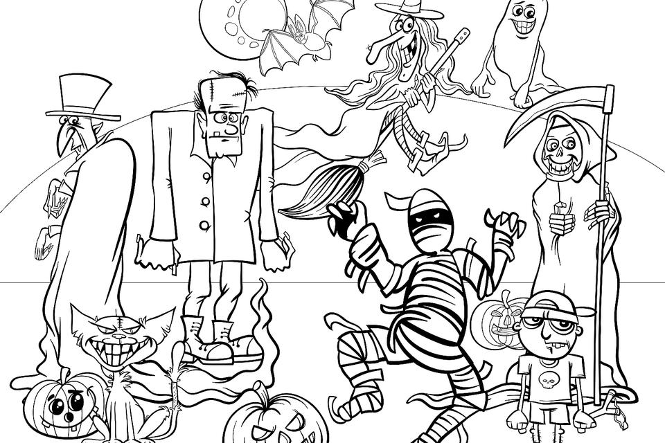 printable halloween coloring pages for kids for free
