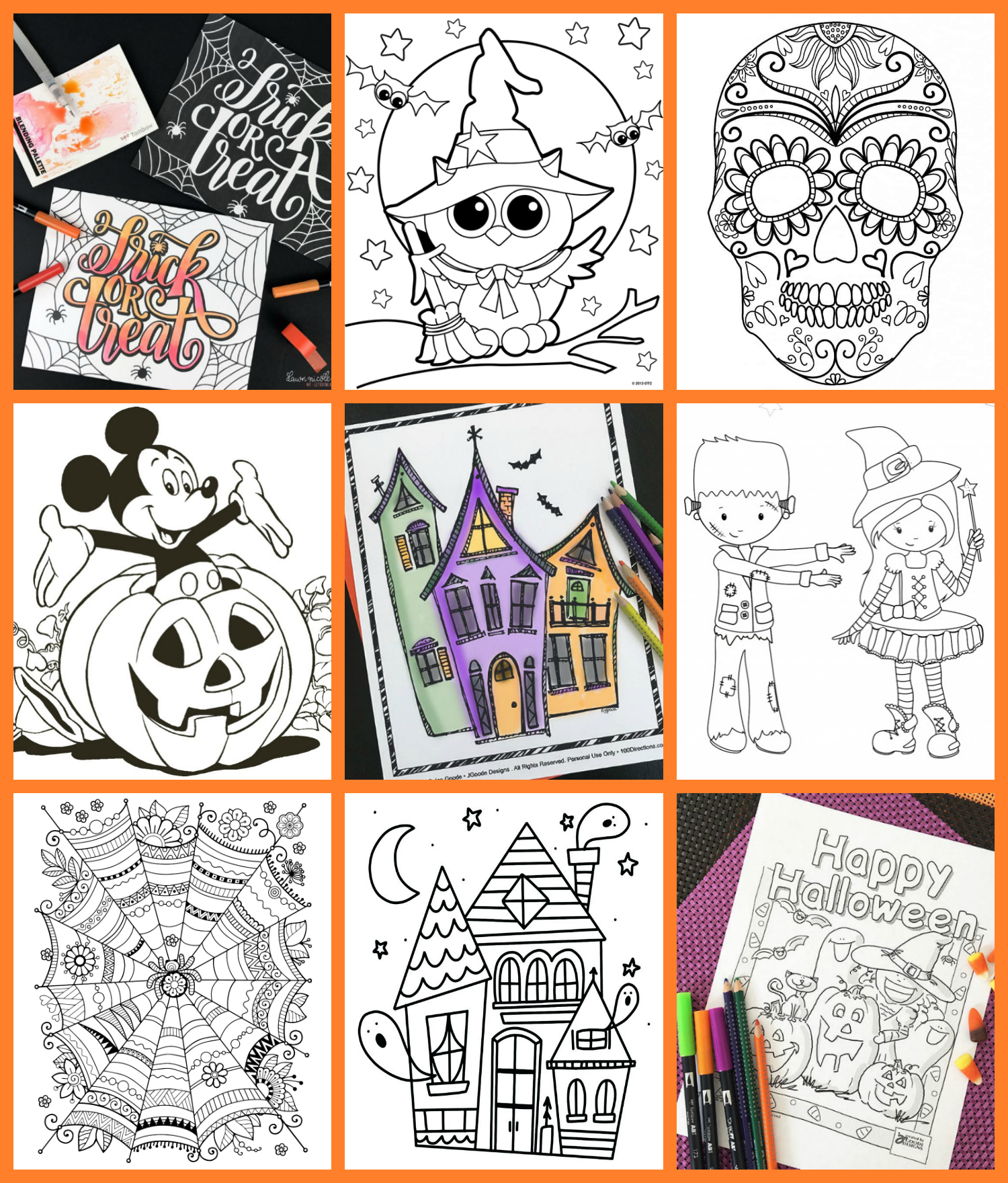 coloring pages halloween for kids for free