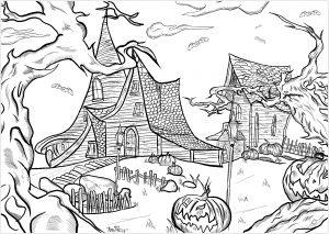 detailed halloween coloring pages