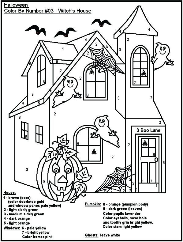 free halloween color pages