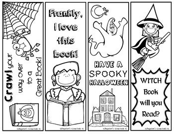 halloween bookmarks to color and print
