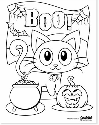 halloween cat coloring pages &  printables