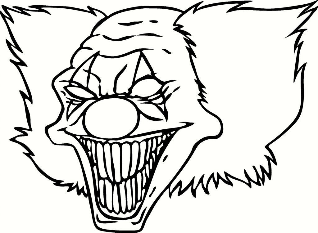 scary clown coloring pages