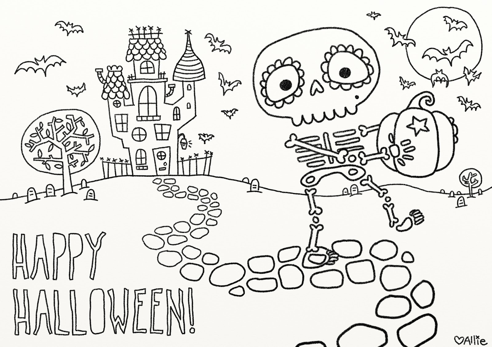 colouring halloween pictures print