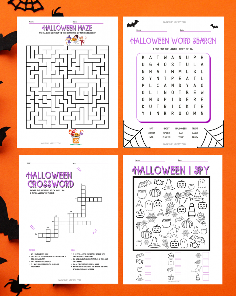 halloween activity pages for kids